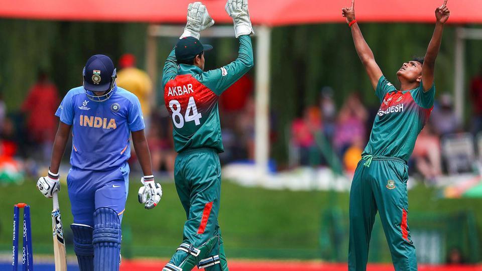 Avishek Das of Bangladesh celebrates the wicket of Atharva Ankolekar of India.