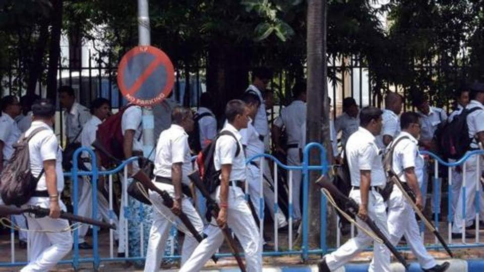 File photo of Kolkata Police personnel on patrol duty.