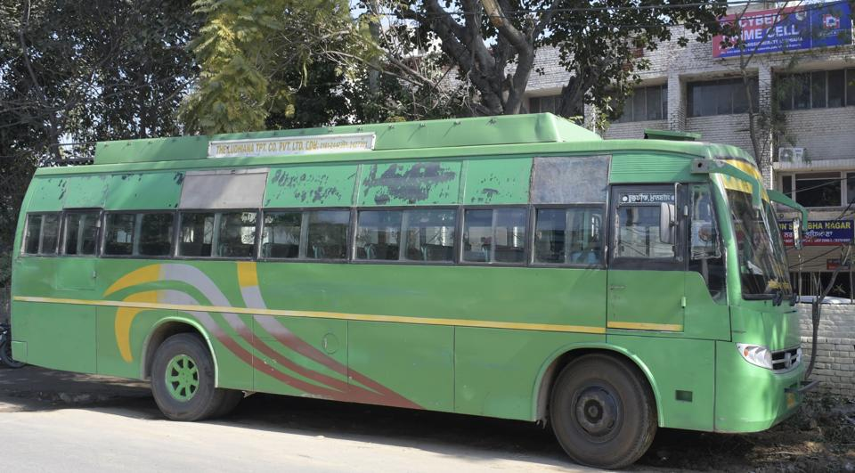 The private bus that was involved in the accident.