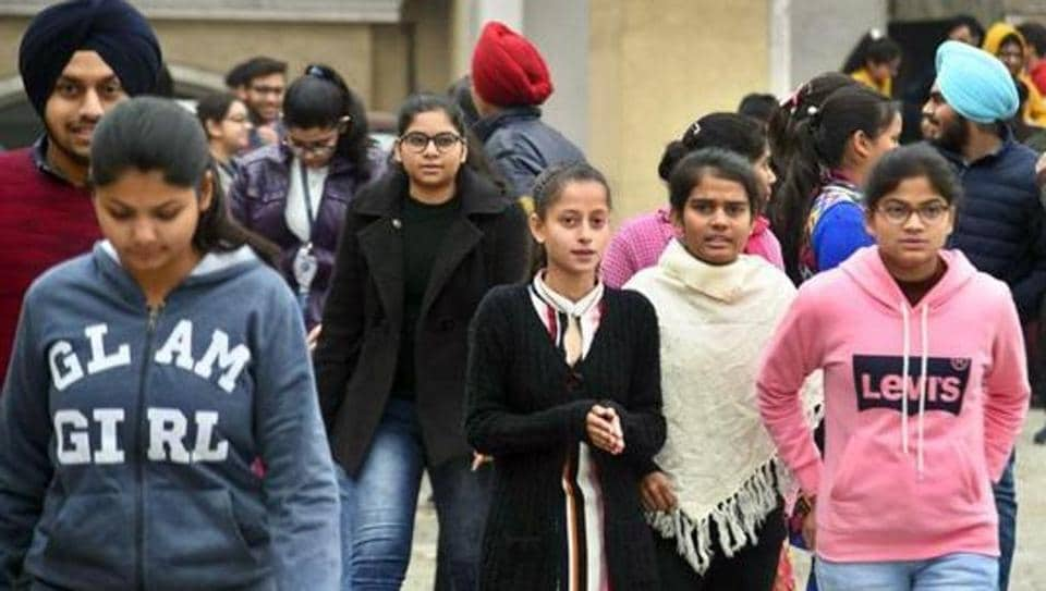 Students coming out from the examination hall after appear in JEE Main exam