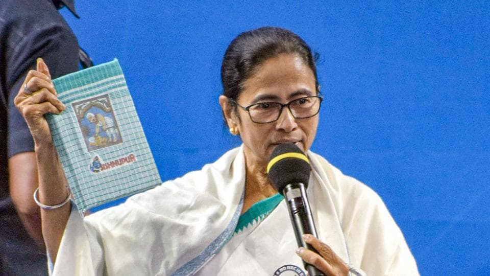 West Bengal Chief Minister Mamata Banerjee speaks during a meeting at Bankura district on February 12.