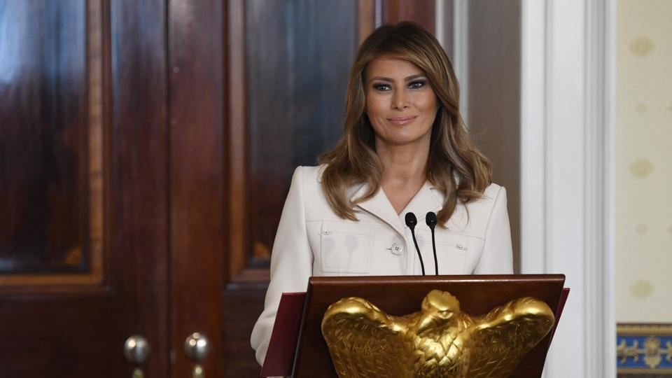 First lady Melania Trump speaks during the Governors' Spouses' luncheon in the Blue Room of the White House in Washington.