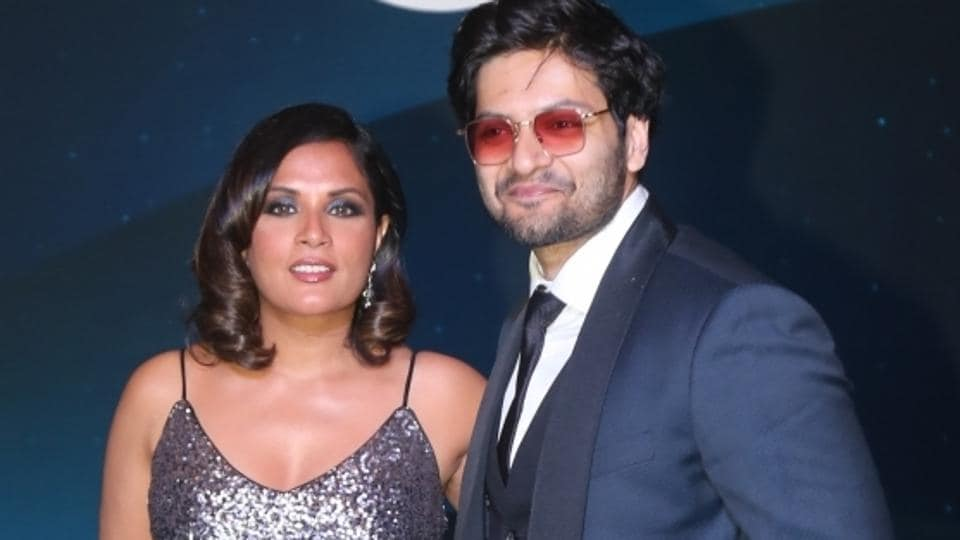 Actors Richa Chadha and Ali Fazal at a blue carpet event hosted by Amazon Prime Video,