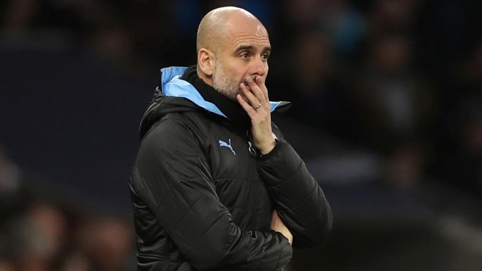 Manchester City manager Pep Guardiola reacts.