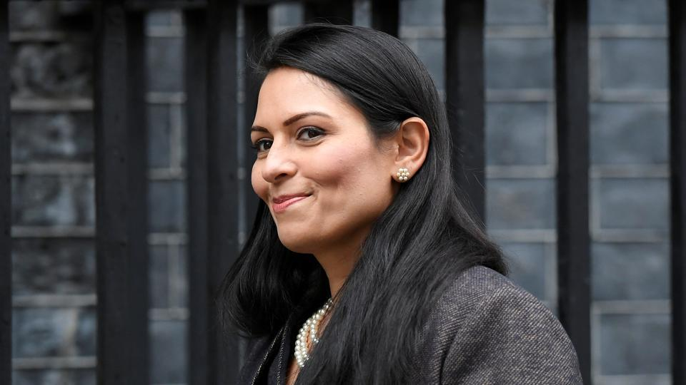 Britain's Home Secretary Priti Patel arrives at Downing Street in London, on February 13.