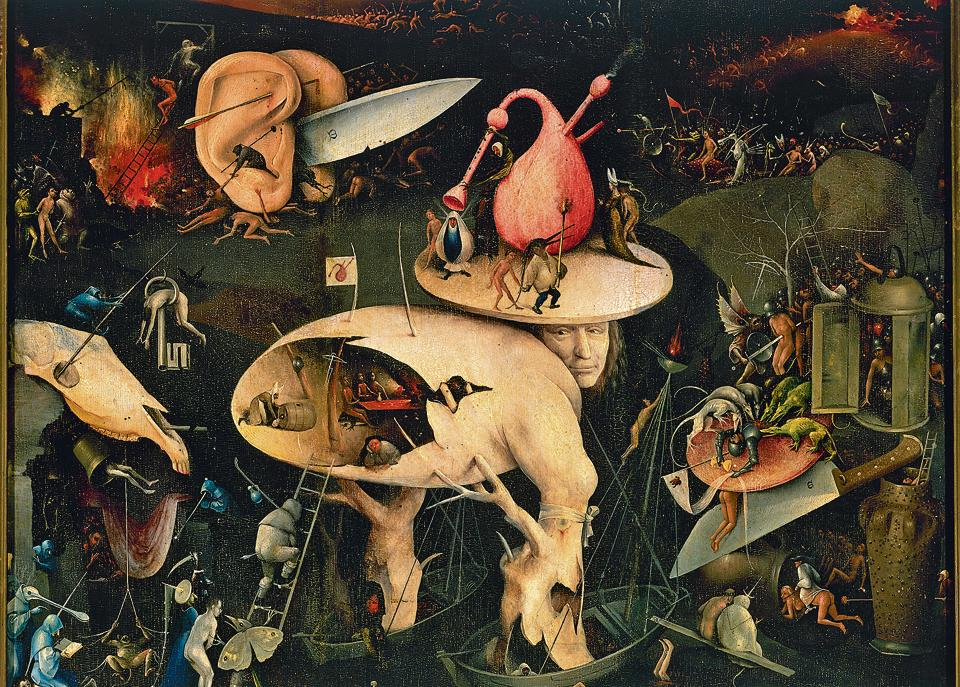 Carrying hell within you:The right panel from The Garden of Earthly Delights by Dutch painter Hieronymus Bosch (c.1450-1516).