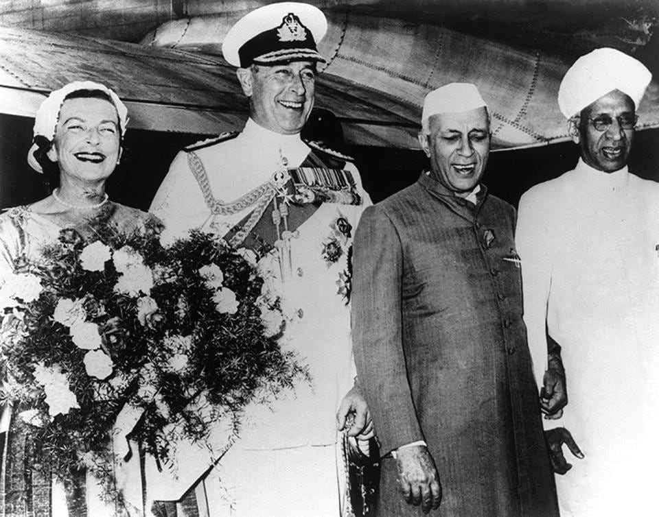 Viscount and Lady Mountbatten with Jawaharlal Nehru and Dr Radhakrishnan on their arrival in New Delhi on May 14, 1956.