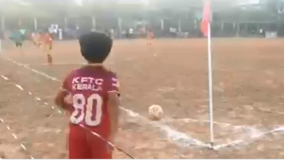 The video of the kid's 'zero degree' goal has created a stir online.