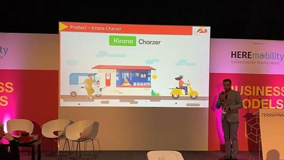 Founder Sameer Ranjan Jaiswal elaborating the benefits of Kirana Charzer to the audience at Move Conference, London.