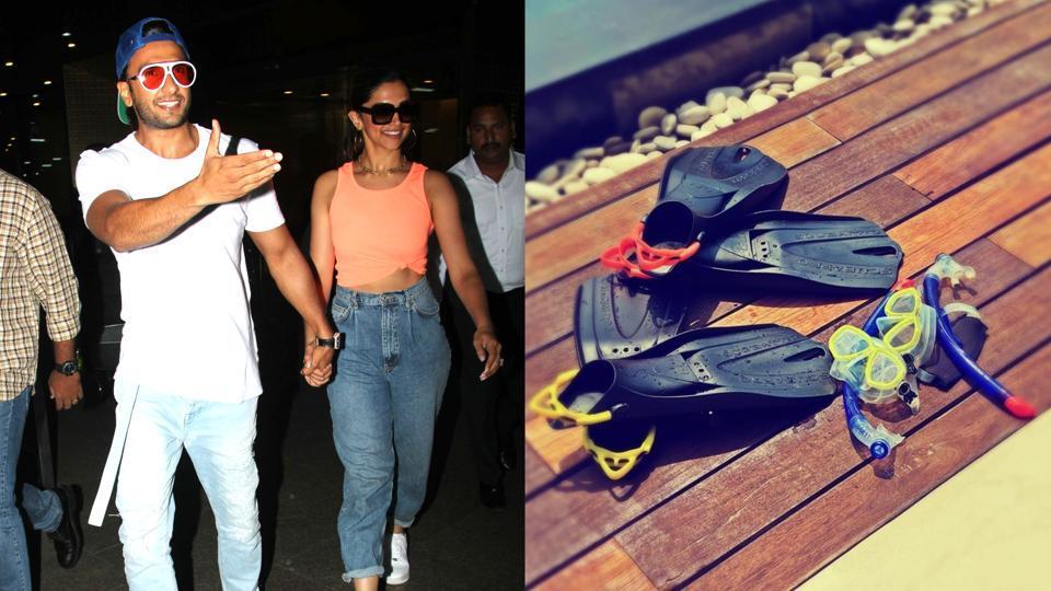 Ranveer Singh and Deepika Padukone at the airport (left).
