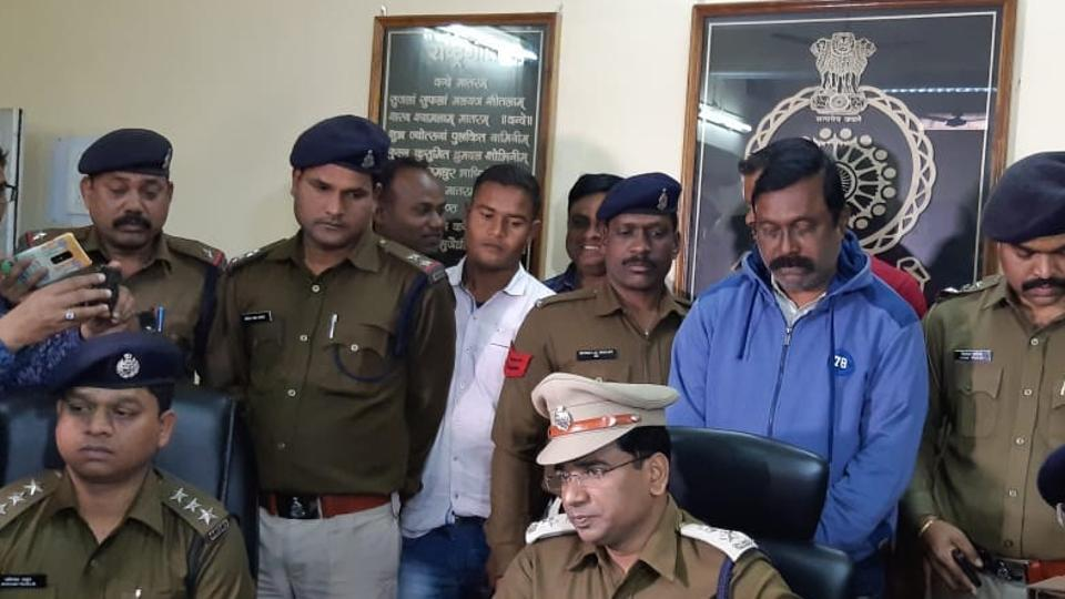 Raigarh SP Santosh Singh briefed reporters on the arrest of senior BJDleader Anup Sai accused of murdering a woman and her daughter in 2016