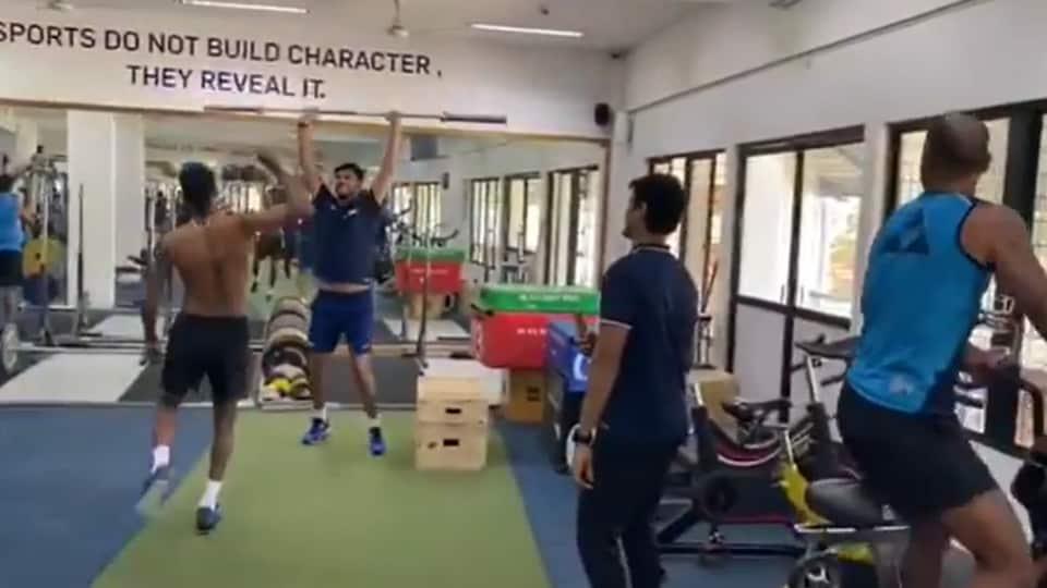 Shikhar Dhawan,Hardik Pandya and Ishant Sharma at gym.