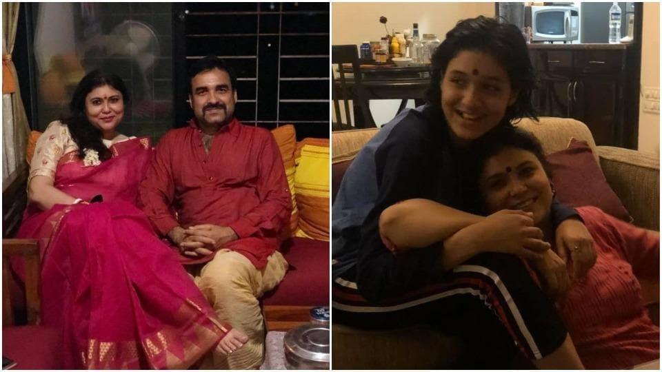 Pankaj Tripathi with wife Mridula and their daughter.