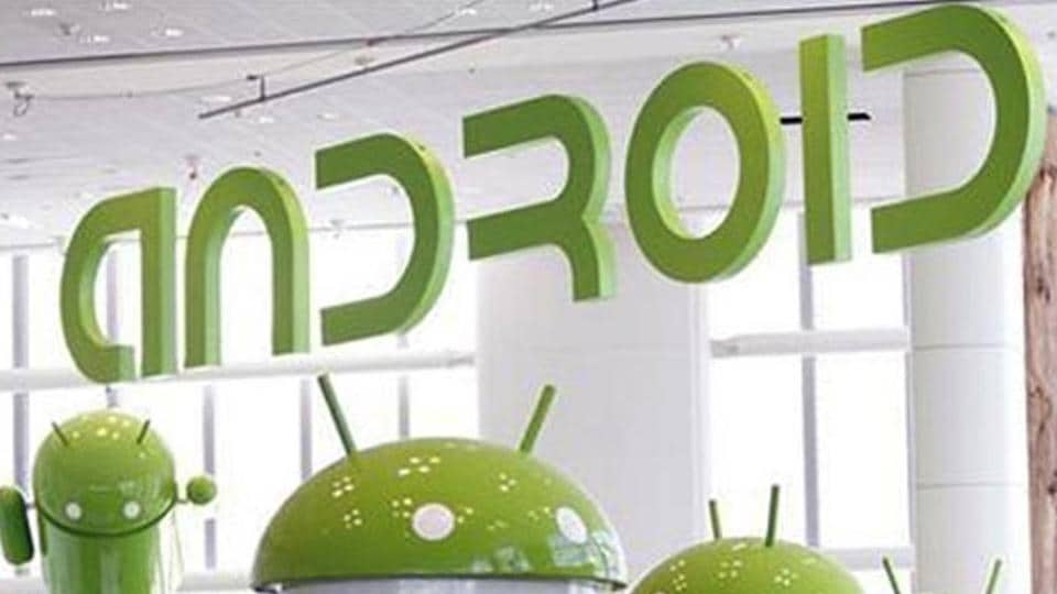 Android mascots are lined up in the demonstration area at the Google I/O Developers Conference.