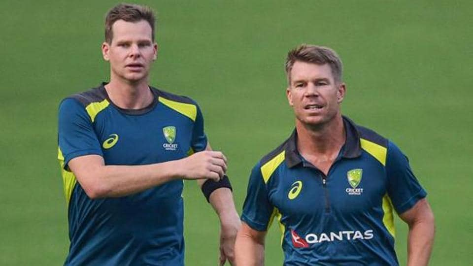Australian cricketer Steve Smith along with David Warner during a practice session.