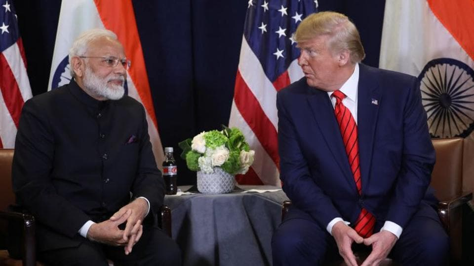 US President Donald Trump holds a bilateral meeting with Prime Minister Narendra Modi on the sidelines of the annual United Nations General Assembly in New York City, New York, US.