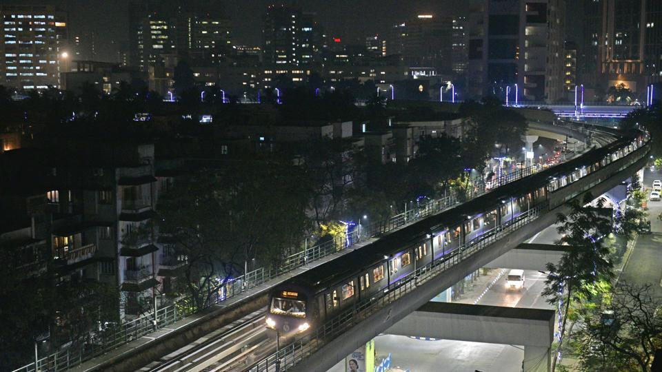 The East-West Metro between Salt lake Sector V to Salt Lake Stadium on its inaugural run, in Kolkata. Kolkata got its second metro line on Thursday, 36 years after the country's first underground connectivity system came into being in the city. (Samir Jana / HTPhoto)
