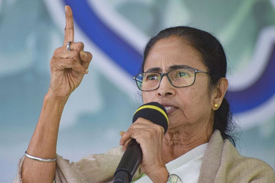 West Bengal Chief Minister Mamata Banerjee addresses party workers at a rally in Bankura district of West Bengal.