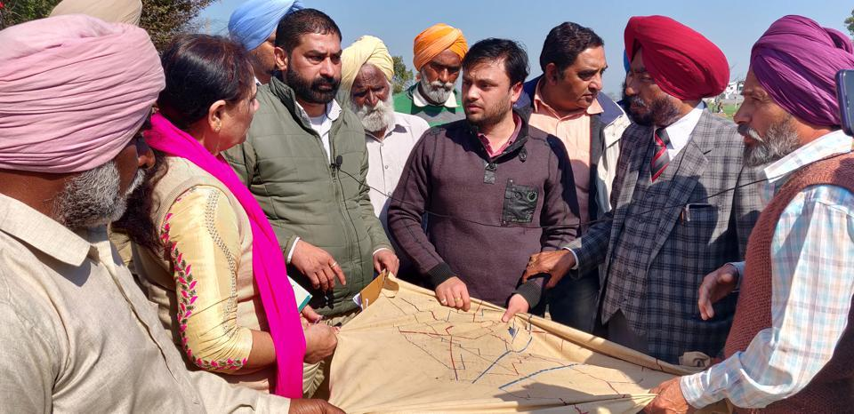Members of Punjab State Scheduled Caste Commission during their visit to Bishanpur village in Samana block on Friday.
