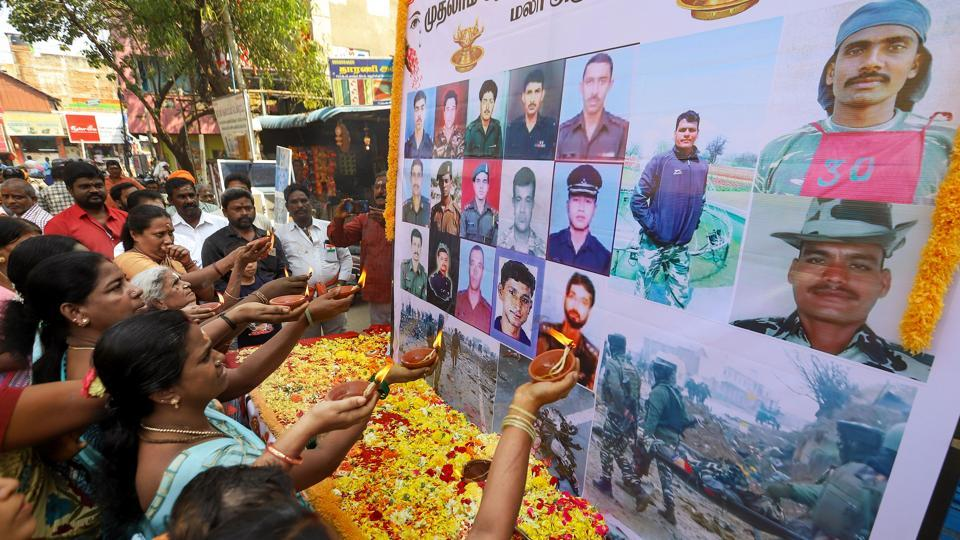 People pay tribute to the martyred CPPF jawans, who lost their lives in a suicide bomber attack in Pulwama last year, in Chennai, on Friday.