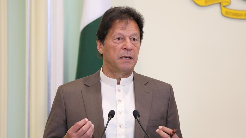 Pakistan's Prime Minister Imran Khan speaks to the media.
