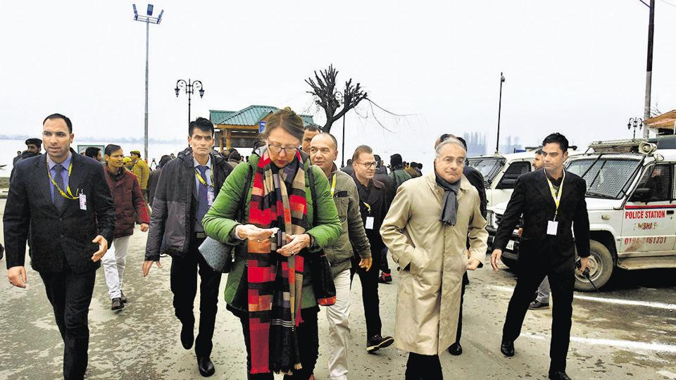Members of a European Union delegation after a shikara ride at the Dal Lake in Srinagar on Wednesday, February 12, 2020.