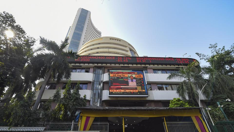 A view of the stock prices displayed on a digital screen outside BSE building in Mumbai.