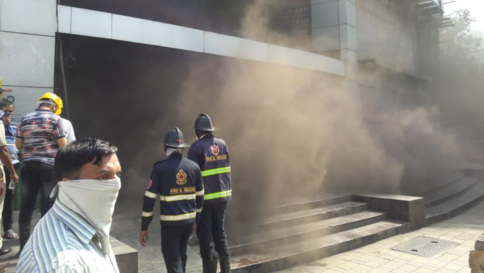 Firefighters atThane's Lake City Mall.