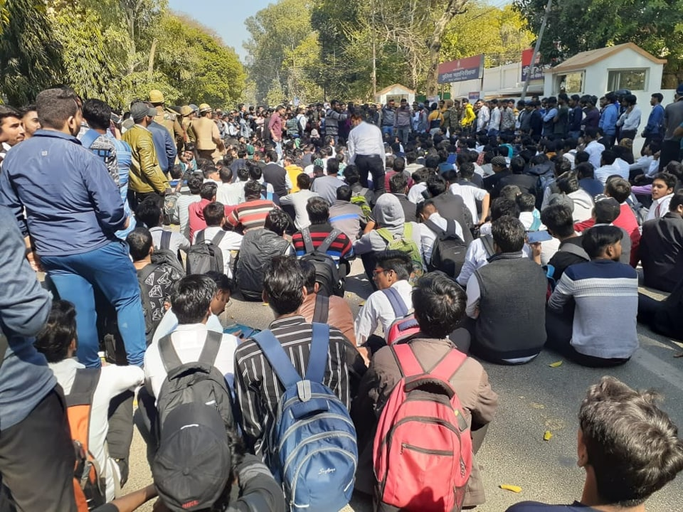 Hundreds of students of CCS University have gathered outside the office of Inspector General of POlice  (Range) Meerut Praveen Kumar to protest the alleged  abduction and gang rape of a university student in Siyana area of district Bulandshshar on Friday.