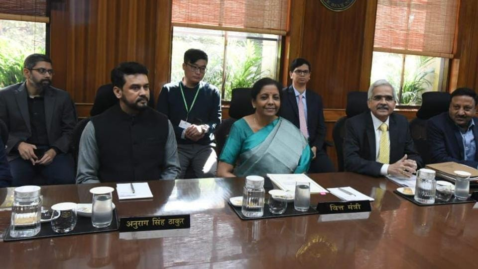 Finance Minister Nirmala Sitharaman, RBI Governor Shaktikanta Das and MoS Finance Anurag Thakur at a meeting with RBI's Central Board of Directors in New Delhi on Saturday.