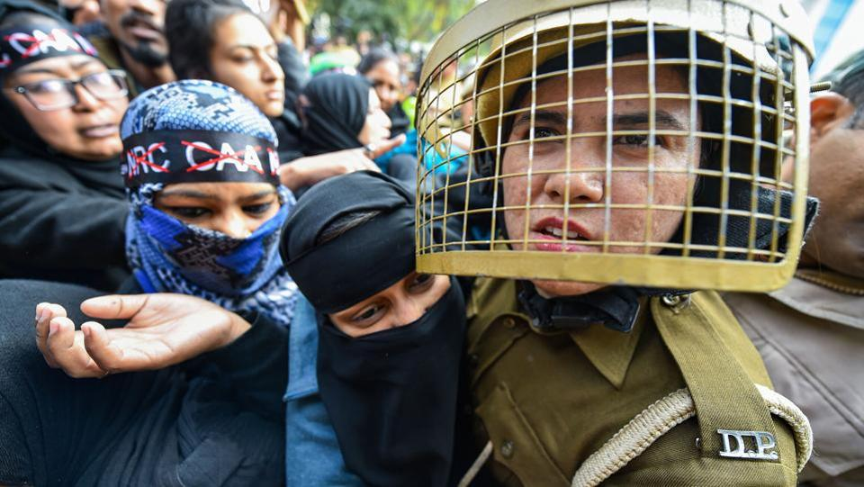 Police stop protesters during their march against the amended Citizenship Act, NRC and NPR, Jamia Nagar, New Delhi, February 10, 2020
