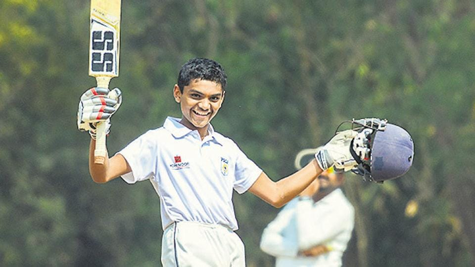 Pushkar Karkhile from Jai Hind High School in action against Vidya Bhavan School during PDCA U-14 inter school cricket tournament at Law college ground in Pune, India, on Friday, February 14, 2020.