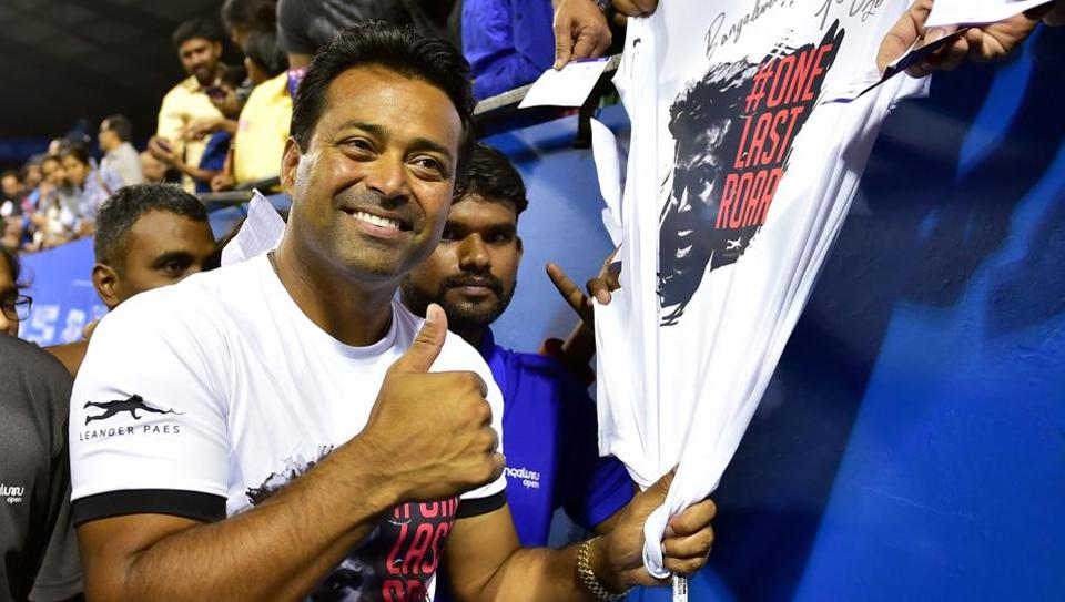 Leander Paes pose for photographs after the doubles final match at ATP Challenger tour Bengaluru Open 2020.
