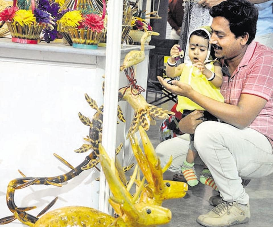 A child looks in awe at the various handicrafts displayed at the Bamboo festival on Friday.
