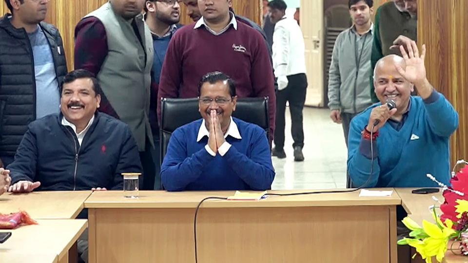 Delhi Chief Minister Arvind Kejriwal along with Deputy CM Manish Sisodia and AAP MP Sanjay Singh during a meeting with newly-elected party MLAs at former's residence, in New Delhi