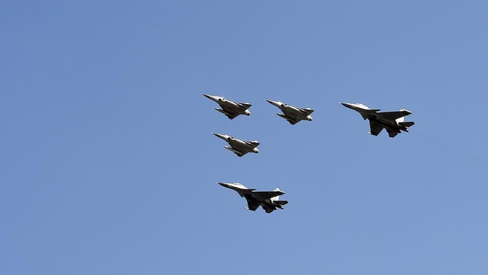 Indian Air Force Mirage and Sukhoi aircraft during the 87th Air Force Day at the Air Force Station at Hindon in Ghaziabad on October 8, 2019.