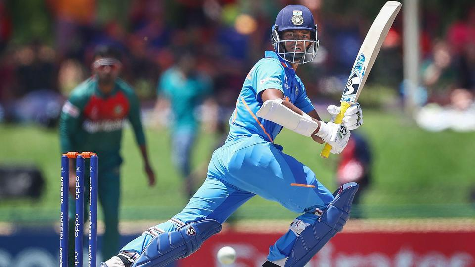 Potchefstroom: In this photo sourced from ICC, Yashasvi Jaiswal of India edges the ball towards the boundary during the ICC U19 Cricket World Cup Super League Final match between India and Bangladesh at JB Marks Oval, in Potchefstroom, South Africa, Sunday, Feb. 9, 2020. (PTI Photo)(PTI2_9_2020_000087B)
