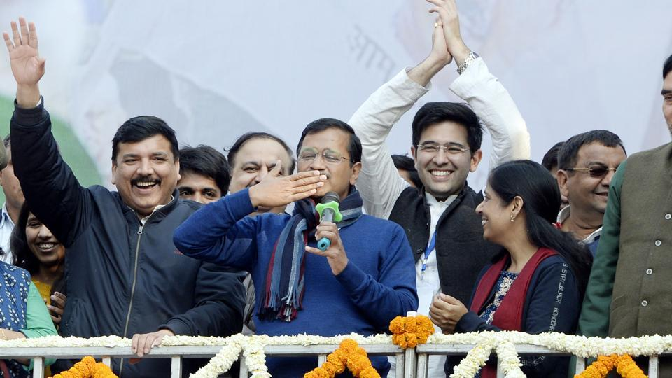 Delhi CM and AAP convenor Arvind Kejriwal gestures during his address to supporters after party's victory in the State Assembly polls, at AAP office in New Delhi.