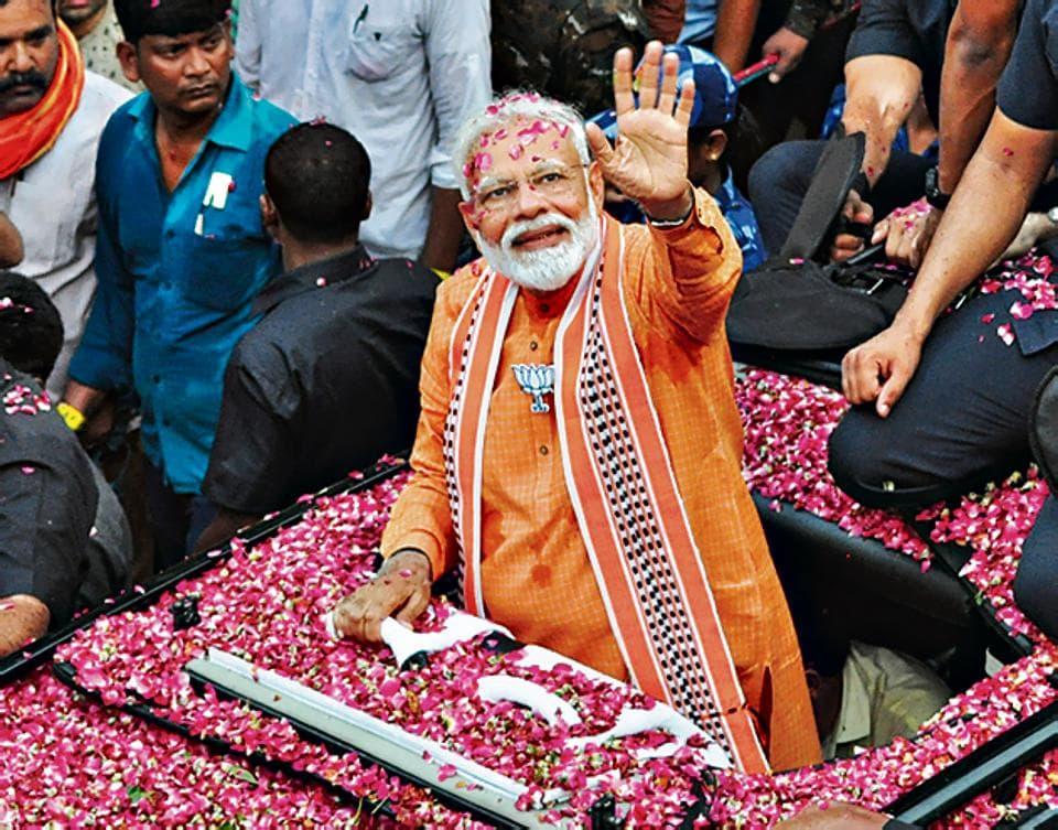 Prime Minister Narendra Modi during a road show at Assi Ghat road in Varanasi, Uttar Pradesh April 25, 2019.
