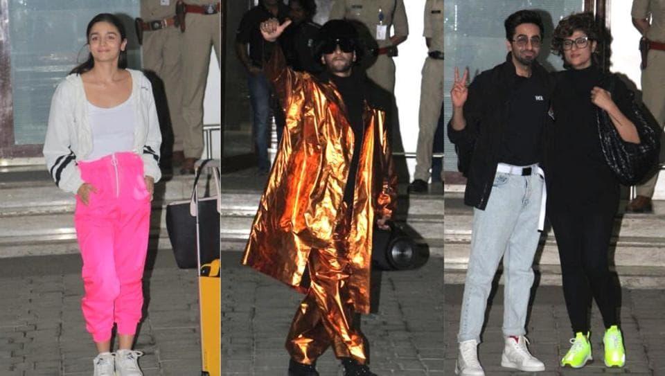 Alia Bhatt, Ranveer Singh, Ayushmann Khurrana and Tahira Kashyap at Kalina airport on Sunday.