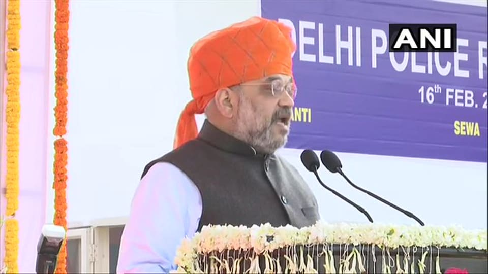 Union Home Minister Amit Shah at  a function to mark the  73rd Raising Day of the Delhi Police.