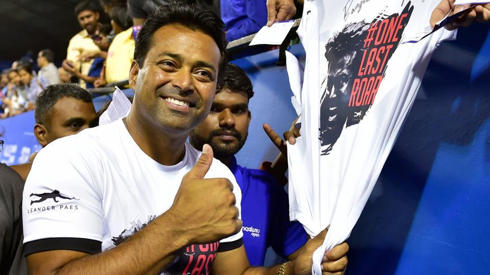 India's Leander Paes pose for photographs.