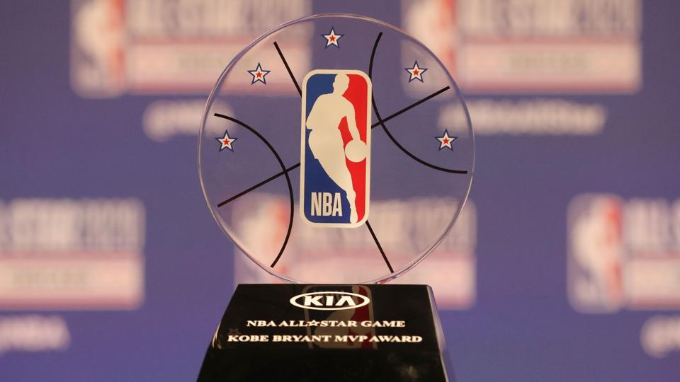 Feb 15, 2020; Chicago, Illinois, USA; NBA commissioner Adam Silver unveils the Kobe Bryant MVP Award at a press conference during NBA All Star Saturday Night at United Center. Mandatory Credit: Dennis Wierzbicki-USA TODAY Sports