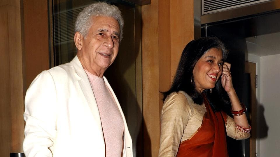 Naseeruddin Shah with wife and actress Ratna Pathak at an event.