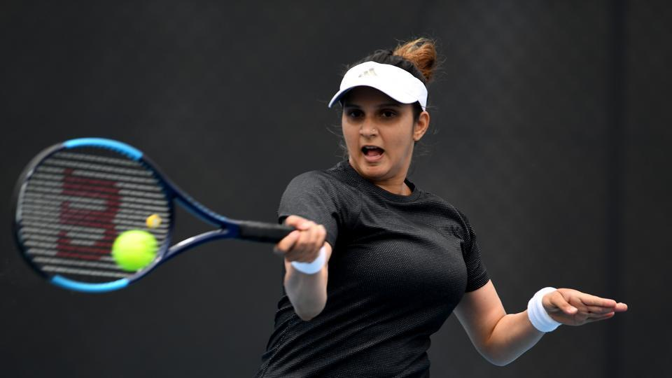 Sania Mirza plays a forehand shot during her first round doubles match on day four of the 2020 Hobart International at the Domain Tennis Centre