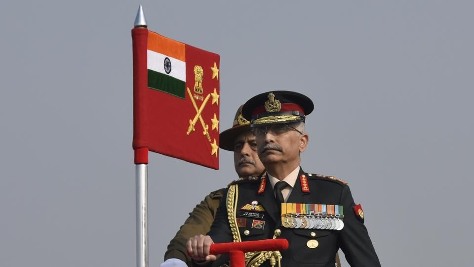 Army chief Gen M M Naravane during the 72nd Army Day Parade at the Parade Ground Delhi Cantt. in New Delhi.