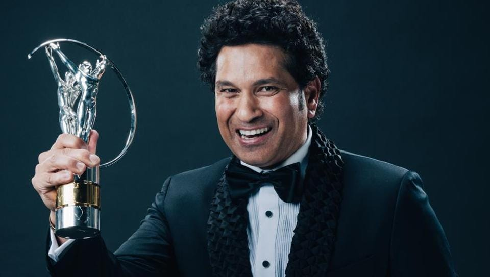 Laureus Best Sporting Moment winner Sachin Tendulkar poses with the trophy