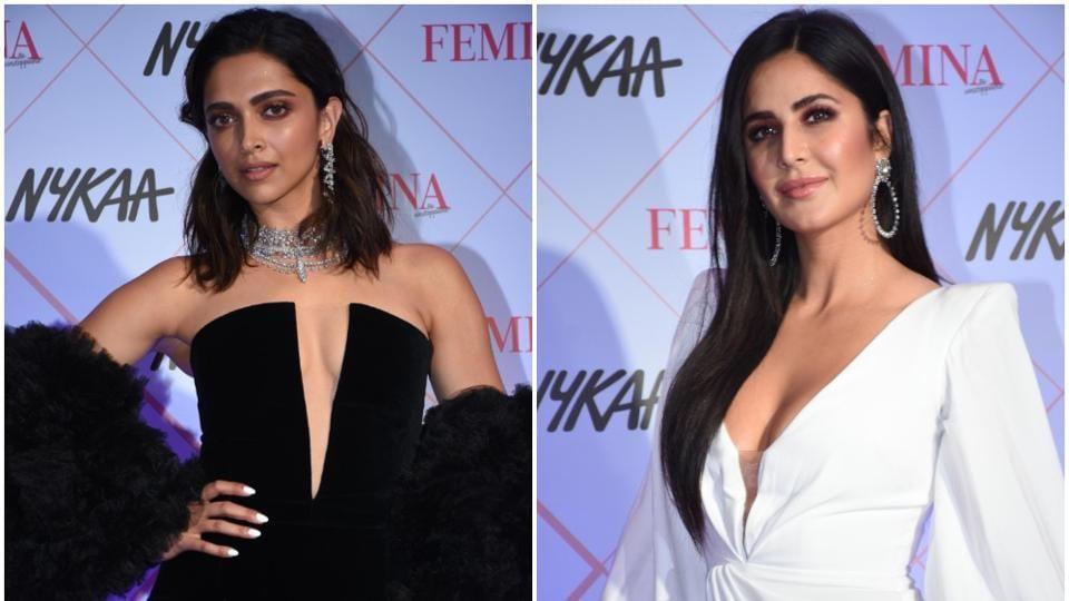 Deepika Padukone and Katrina Kaif at Nykaa Femina Beauty Awards 2020.