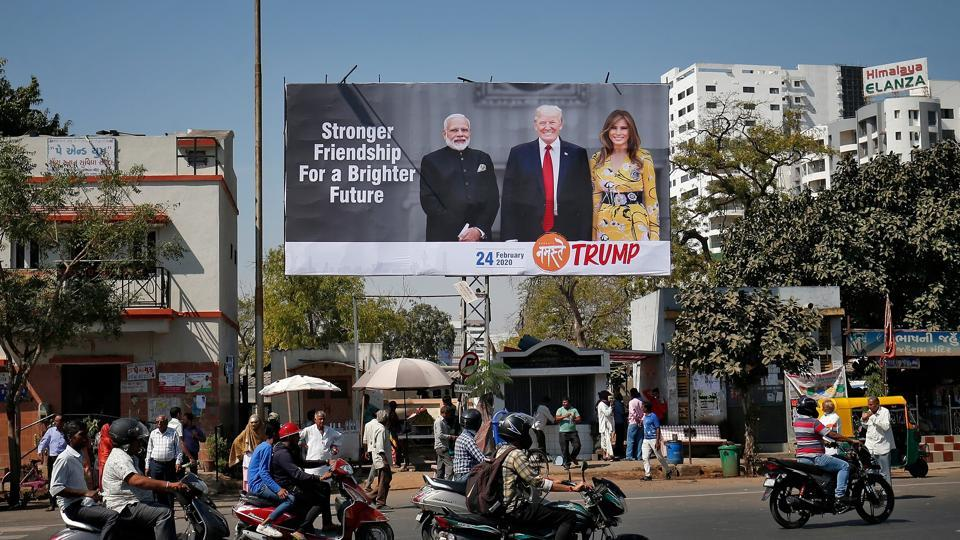 A hoarding with the images of Prime Minister Narendra Modi, US President Donald Trump and first lady Melania Trump ahead of Trump's visit, in Ahmedabad on February 18.