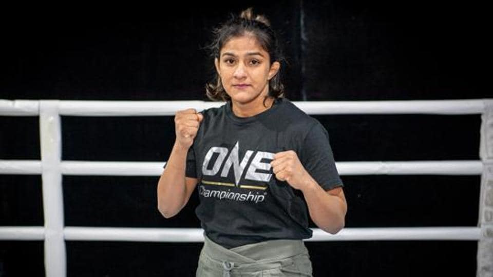 India's Ritu Phogat poses at the Fighting Bros Club ahead of her One Championship